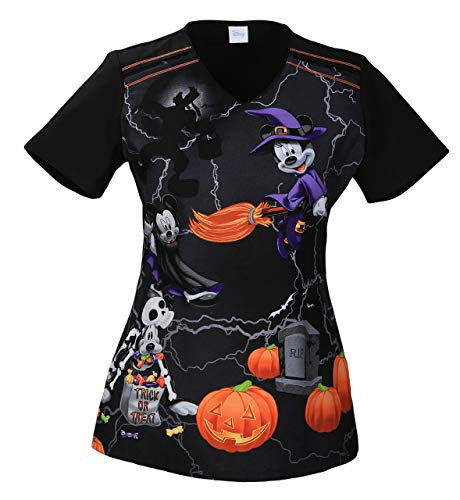 (Tooniforms by Cherokee Women's V-Neck Mickey Halloween Print Scrub Top X-Small)