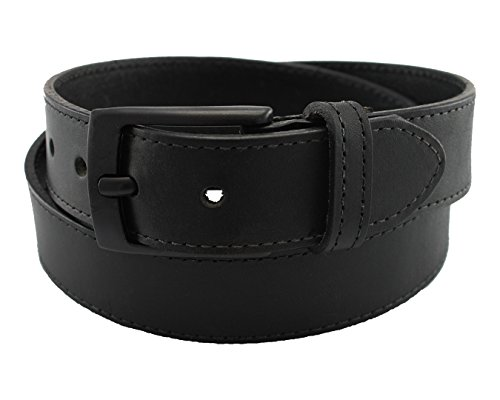 Highliner Made in USA Metal Free Travel Leather Belt by Thomas Bates (34, Black) (Mens Leather Dress Belts Made In Usa)