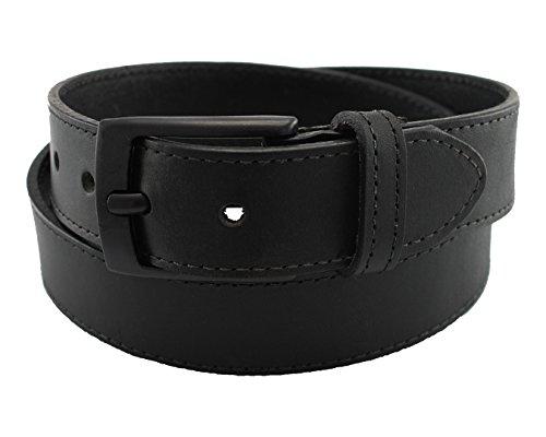 Highliner Made in USA Metal Free Travel Leather Belt by Thomas Bates (36, Black) - Mens Black Carbon Strap