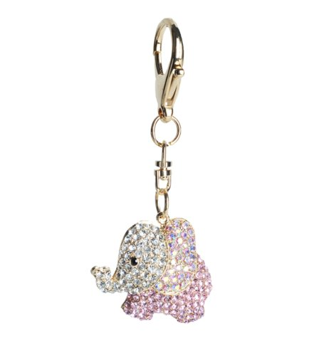 Lilly Rocket Pink and AB Crystal Elephant Key Chain with Swarovski Crystals KC175
