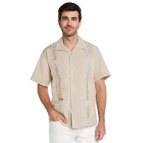 9 Crowns Essentials Men's Guayabera Button Down Shirt (Beige, X-Large)