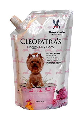 Warren London - Cleopatra's Doggy Milk Bath 32oz - Standard Bath or Spray On Application - Luxurious Spa Formula That Cleans, Soothes, Softens Skin & Coat - Made in USA w/Natural Whole Milk Powder - Luxurious Clean Natural