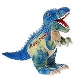 Fiesta Toys Personalized Blue Dinosaur Tyrannosaurus Rex T Rex Plush Stuffed Animal Toy with Custom Name - 19 Inches