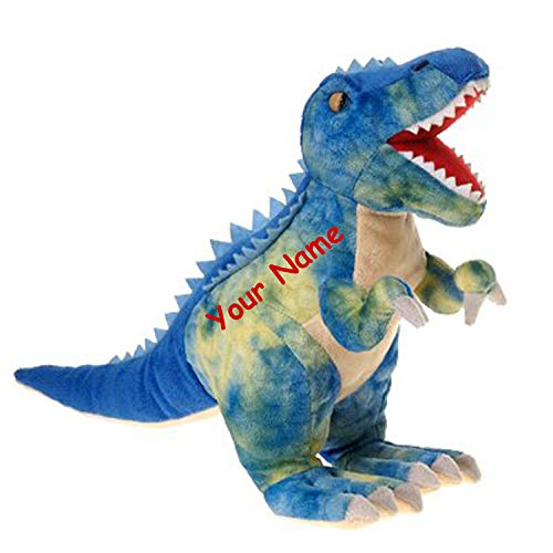 Personalized Dinosaur - Fiesta Toys Personalized Blue Dinosaur Tyrannosaurus Rex T Rex Plush Stuffed Animal Toy with Custom Name - 19 Inches