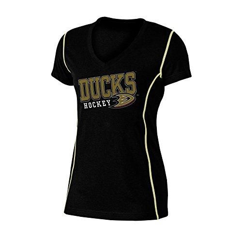 NHL Anaheim Ducks Women's Poly V-Neck Tee, Large, Black Heather (Hockey Womens Jersey)