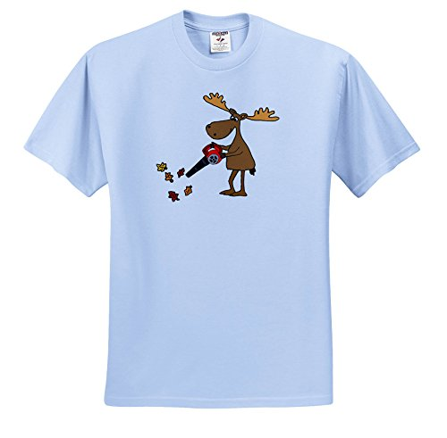 All Smiles Art Animals - Funny Cute Moose Using Leaf Blower Yard Work Cartoon - T-Shirts - Toddler Light-Blue-T-Shirt (4T) (TS_263877_65)
