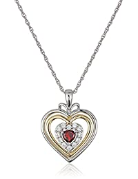 """Sterling Silver Hearts and 14k Yellow Gold Plated and Lab Created White Sapphire with Rope Chain Pendant Necklace, 18"""""""