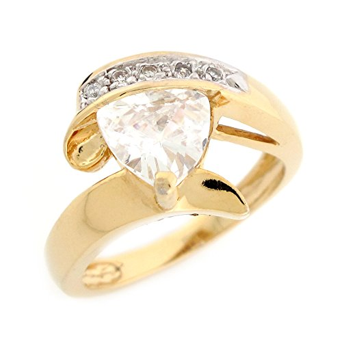 Jewelry Liquidation 10k Yellow Gold Trillion Cut White CZ Bypass Design Modern Ladies Ring