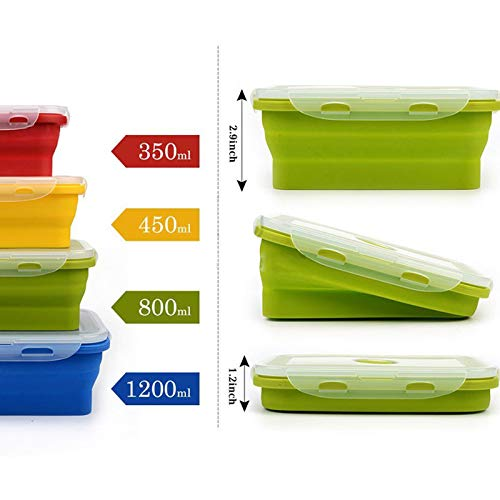 Silicone Lunch Box Portable Bowl Colorful Folding Food Container Lunchbox 350/500/800/1200Ml Eco-Friendly (Special 500 Capacity Chip Case)