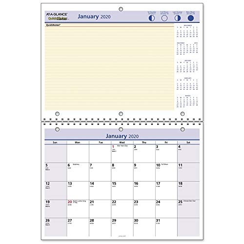 """AT-A-GLANCE 2020 Monthly Desk/Wall Calendar, QuickNotes, 11"""" x 8"""", Small, Wirebound (PM5028)"""
