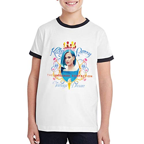 HELON K SUEEY Katy Perry Soft TeenagerClassic Round Neck Teen Customized Contrast T-Shirt, Cotton,Size:S-XL Black