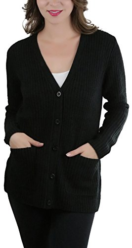 ToBeInStyle Women's Knitted Acrylic Button Up Cardigan - Black - Small