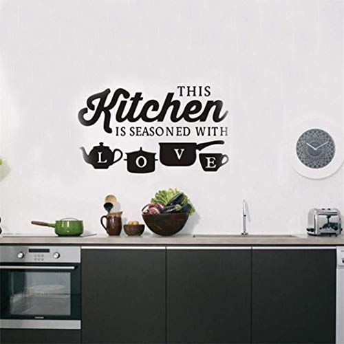 Coohole Removable Fashion Elements Kitchen Restaurant Creative Carved Wall Stickers (Black)