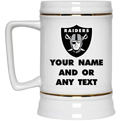 Personalized Beer Nfl - Custom Personalized Oakland Las Vegas Raiders Beer Mug | Raiders Logo Beer Mug | 22 oz White Ceramic Beer Stein | NFL AFC | Perfect Gift For Any Raiders Fan!