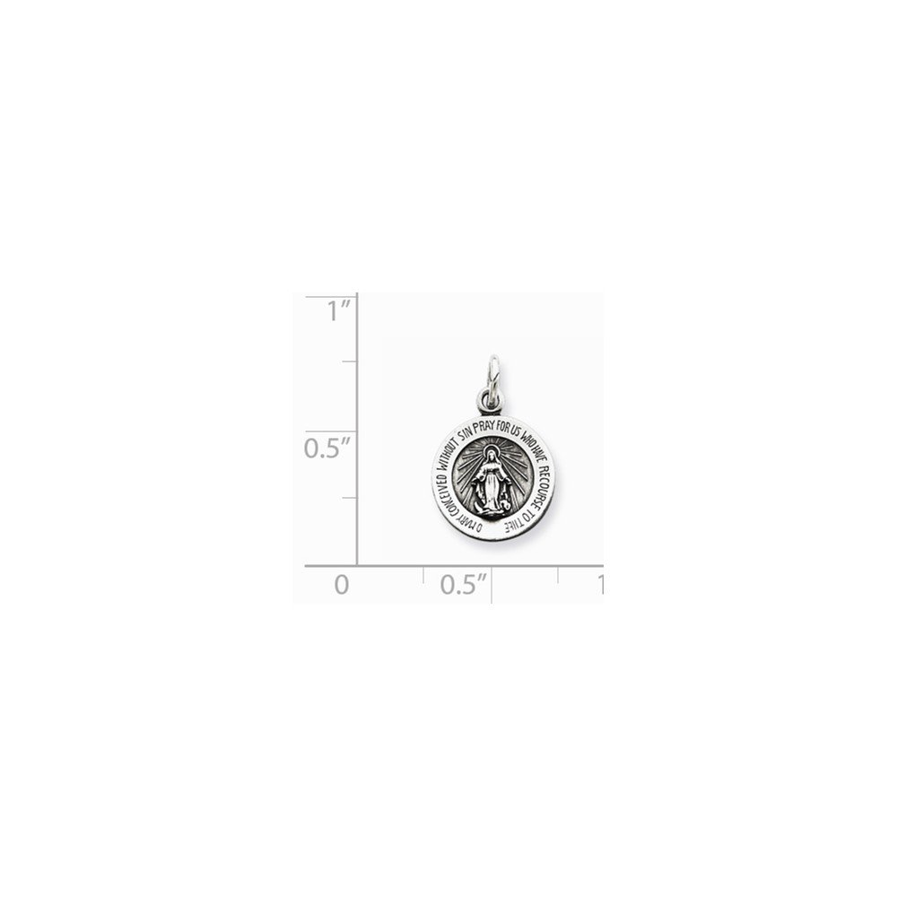 Jewel Tie 925 Sterling Silver Antiqued-Style Miraculous Medal 12mm x 17mm