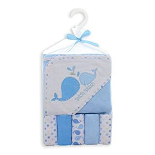 Cutie Pie Baby 6 Piece Hooded Terry Towel with Washcloths, Blue Whale