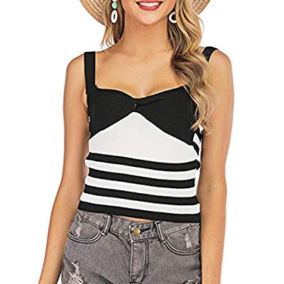 Xinantime Womens Casual Loose Striped Colorblock V-Neck Slim Camisole Hipster Lady Vest Tank: Clothing