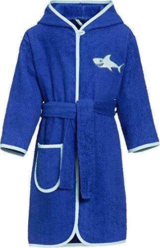Playshoes Jungen Kinder Frottee-Bademantel Hai mit Kapuze, Blau (Blau 7), 134 (Herstellergröße: 134/140)