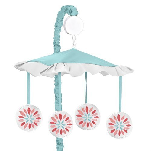 Sweet Jojo Designs Musical Baby Crib Mobile for Modern Turquoise and Coral Emma Collection [並行輸入品]   B07J5SF1NF