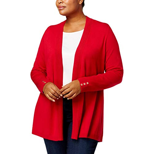 - Charter Club Plus Size Open-Front Cardigan in New Red Amore (2X)