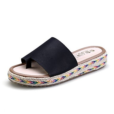 Women'szapatos Zapatillas de plataforma de microfibra / Redondo / Open Toe Toe sandalias vestido negro / Marr¨®n / Verde / Blanco US5.5 / EU36 / UK3.5 / CN35