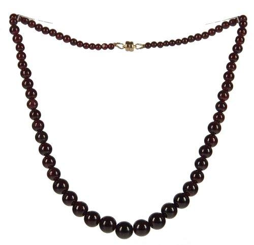 Garnet Round Graduated Necklace 14K Gold Filled Magnetic Clasp 18 (Gold Graduated Bead Necklace)