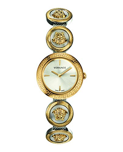 Versace VERF00818 Medusa Ladies Stud Icon Silver Dial Gold-Tone Stainless Steel ()