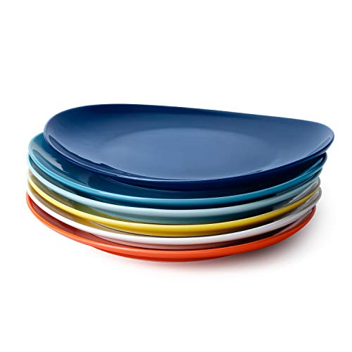 Sweese 150.002 Porcelain Dinner Plates - 11 Inch - Set of 6, Hot Assorted Colors (Best Color For Dinner Plates)