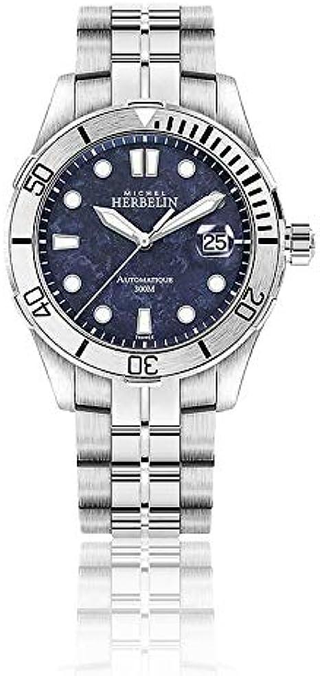 Reloj para hombre Michel Herbelin 1660/45B Trophy automático 300 m – Esfera azul mármol