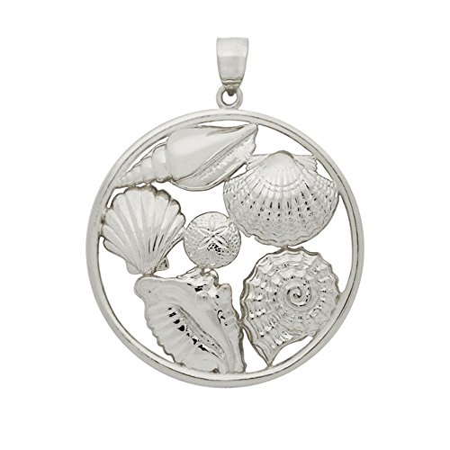 Seashell Silver Plated - Noureda Sterling Silver Rhodium Plated Round Pendant with 6 Seashells, Pendant Diameter of 32MM