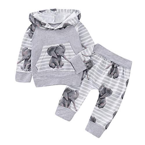 puseky Pasgeboren Baby Boy Meisje Olifant Hoodie Sweatshirt Tops+Broek Hooded Trainingspak Outfit Set