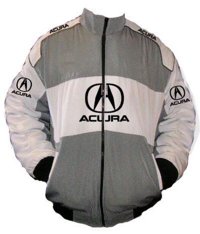 Amazoncom Embroidery Logic Acura TL Racing Jacket Gray And White - Acura clothing