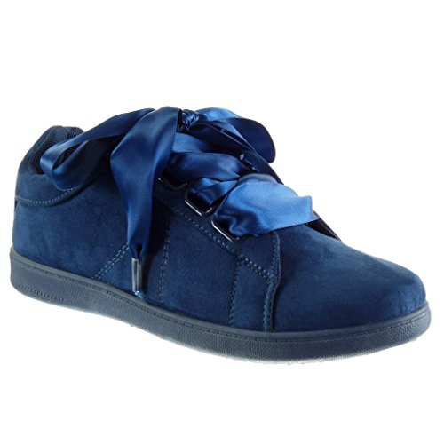 cm Shoes Heel Sneaker Sole Fashion Angkorly Blue Women's Flat Lace Trainers Satin 2 aEgzqPnzwx