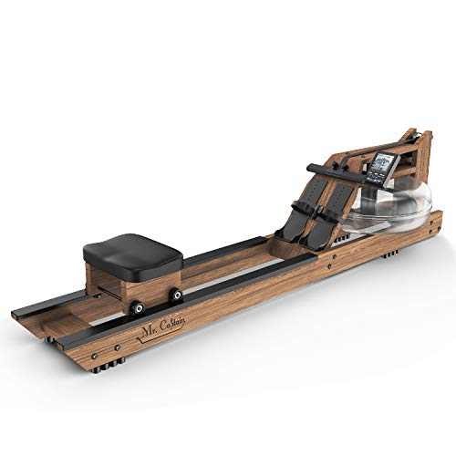 Mr Captain Rowing Machine for Home Use,Water Resistance Wood Rower with Bluetooth Monitor,Indoor Fitness Exercise Sports Equipment