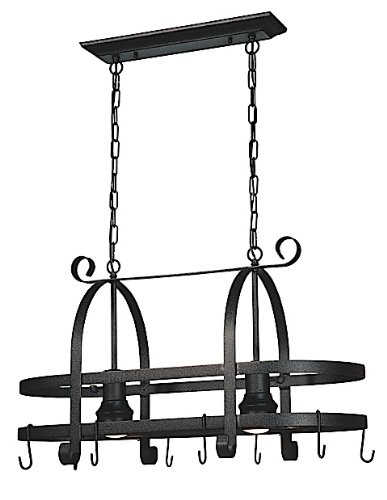 Artcraft Lighting Pot Racks 2-Light Island Light, Black (Mission Two Light Island)