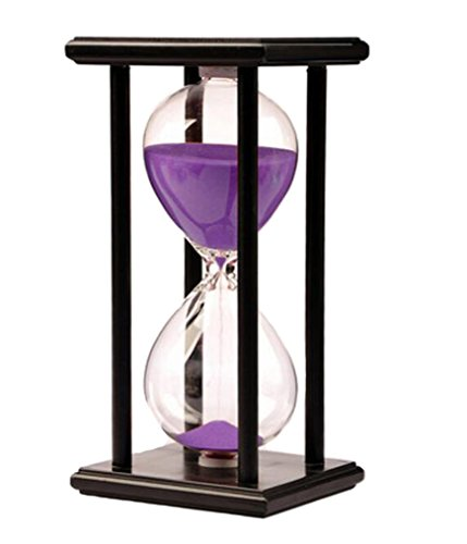 Hourglass Sandglass Sand Timer 30 minutes for Desktop Kitchen Classroom Decration Great time Clock Management tool (Purple sand) (Orange And Black Halloween Colors Meaning)
