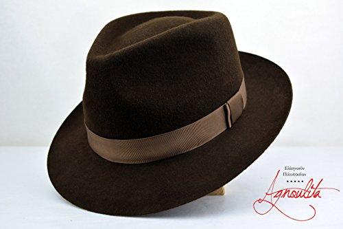 Chocolate Brown Teardrop Fedora - Wool Felt Handmade Fedora Hat by HNC-HatWorks