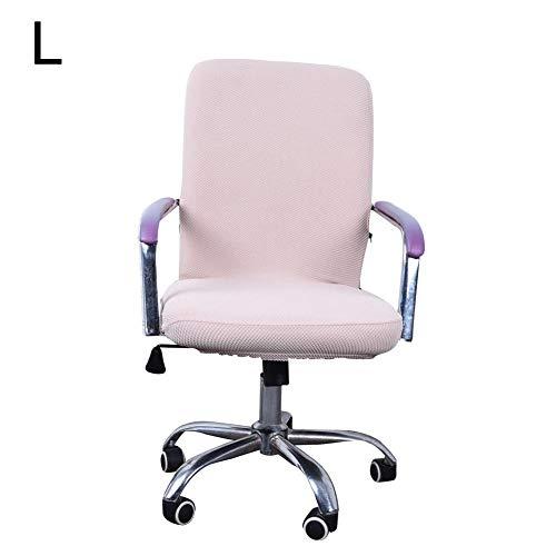 myonly - Funda para silla de oficina o ordenador, funda para silla de escritorio, elastica, de color solido, giratoria y extraible, funda universal para sillon (sin silla), C:creamy-white-l, Large
