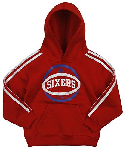 adidas Philadelphia 76ers NBA Little Boys 3 Stripe Pullover Hoodie, Red (Small (4), -