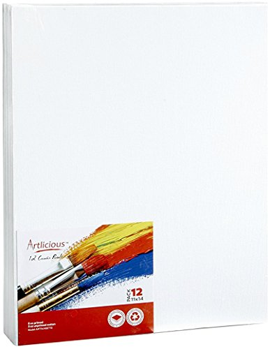Artlicious   11X14 Super Value Canvas Panels   Artist Canvas Boards For Painting  12 Pack