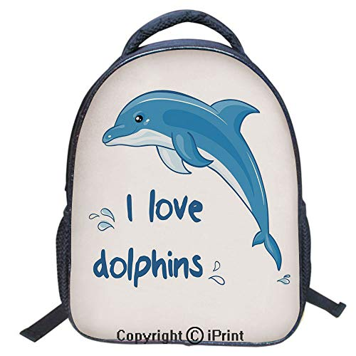 3D Print Backpack,Suitable for Kids,School Backpack,Book bags,Travel Hiking Bag Backpack Collection Bags for Teen Girls Kids,16 inch,Cartoon Style Ocean Animal with I Love Dolphins Quote and Water Spl