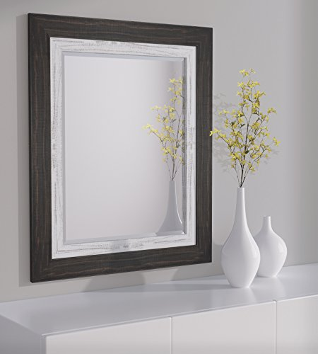 LND Reflections Framed Beveled Mirror – 30″x36″ or 32″x44″ – 12 Colors (30″ x 36″, Charcoal Black/Marshmallow White)