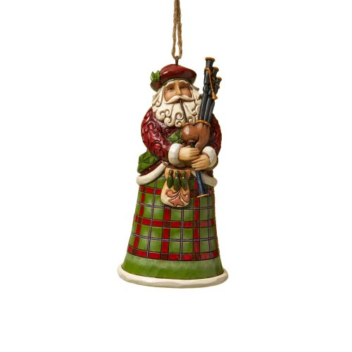 Jim Shore Heartwood Creek Scottish Santa Stone Resin Hanging Ornament, 4.75