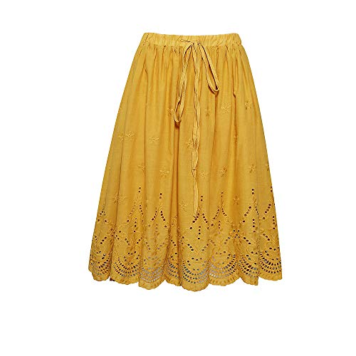 Love Welove Fashion Women's A-line Flared Embroidered Below Knee Length with Lining midi Skirt (S, Mustard)