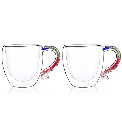 Coffee Mug with Crystal-Filled Handle,IKET Insulated Double-Wall Glass Tea Espresso Cup-Unique Birthday Gift set of 2 (2, Colorful)