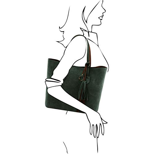 Violeta Verde Shopping Tlbag En Piel Leather Agamuzada Bolso Tuscany 4Ovw0xqR