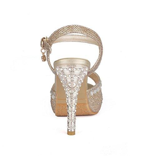 AllhqFashion Mujeres Hebilla Tacón de aguja Material Mezclado Tachonado Peep Sandalia Gold