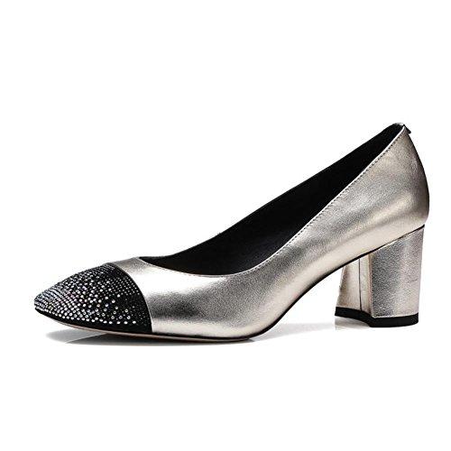 Mariage NVXIE Milieu sur GOLD Talon Tribunal Chaussures Pompes Caleçon Argent Strass Bloc Fête EUR41UK758 Intelligent Femmes Bureau Faible xnBnO8