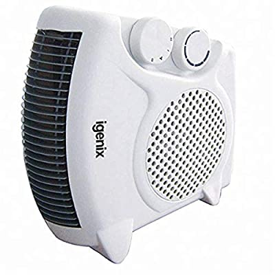 Flat/Upright Portable Electric Fan Heater With 2 Heat Settings And Cool Air Setting, Ideal For Small Rooms, Caravans And Garages, 2000 W, White