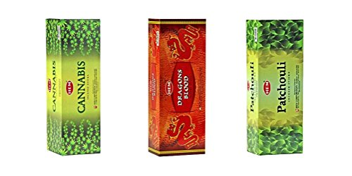 HEM Incense Bundle of 3 Boxes of 120 Sticks (Total 360 sticks) (Cannabis, Dragons Blood, Patchouli) ()